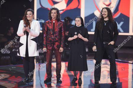 The 4 finalists Giorgia Pino, Tommaso Pini, Sister Cristina Scuccia, Giacomo Voli