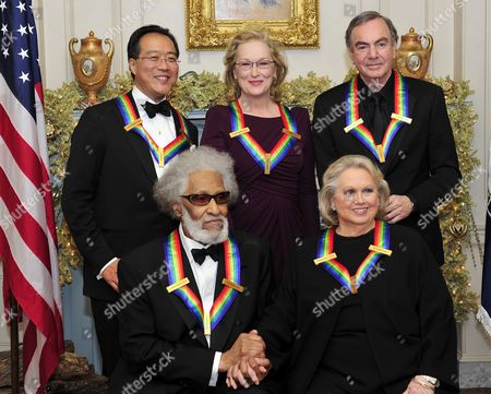 The recipients of the 2011 Kennedy Center Honors at the U.S. Department of State in Washington, D.C. Back row, from left to right: musician Yo-Yo Ma; actress Meryl Streep; and singer Neil Diamond. Front row, from left to right: musician Sonny Rollins; and actress Barbara Cook.