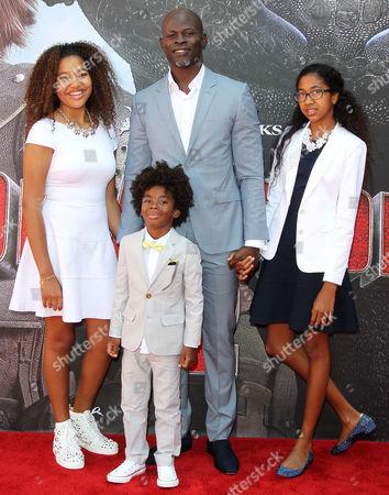 Djimon Hounsou, Kenzo Lee Hounsou, Ming Lee Simmons and Aoki Lee Simmons