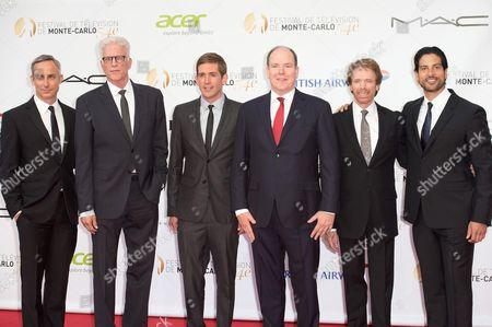 (L-R) Wallace Langham, Ted Danson, Eric Szmanda, Prince Albert II of Monaco, Jerry Bruckheimer and Adam Rodriguez
