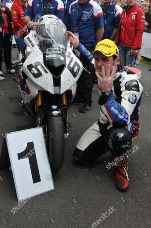 Michael Dunlop after winning the Senior race marking 4 wins in a week of racing
