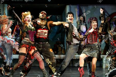 (L-R) - KERRY ELLIS AS MEAT, NIGEL CLAUZER AS BRITNEY, TONY VINCENT AS GALILEO AND HANNAH JANE FOX AS SCARAMOUCHE