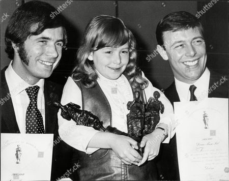 Songwriters Barry Mason And Les Reed With Statuettes And Certificates They Received For Writing The Song Delilah. Also Pictured Is Donna Reed 8 Daughter Of Les Reed.