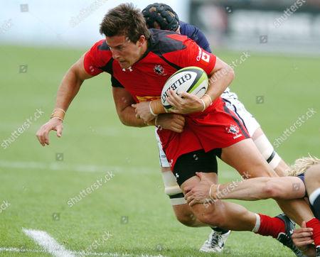 DTH van der Merwe - Canada winger, tackled by Kieran Low