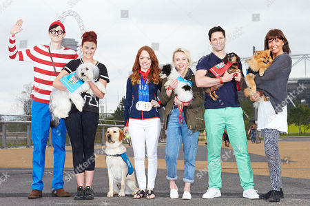 Stock Picture of Where's Wally, Ashleigh and Pudsey, Jade Etherington and guide dog puppy called Hero, Jorgie Porter and Lady, Sean Palmer and Abraham, Anji Graham and Mr Hendrix