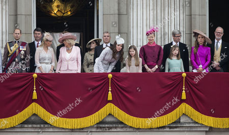 Stock Image of Prince Edward, Tim Laurence, Sophie Countess of Wessex, Camilla Duchess of Cornwall, Princess Eugenie, Prince Andrew, Catherine Duchess of Cambridge, Estella Taylor and Lady Helen Taylor, Timothy Taylor, George Windsor Earl of St Andrews