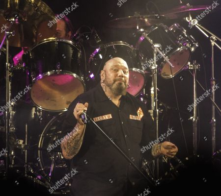 Stock Picture of Paul Di'Anno (original singer in Iron Maiden between 1978 - 1981) in 'Blaze Bayley vs Paul Di'Anno' (Blaze Bayley was original singer in Iron Maiden between 1993 - 1999) performing Iron Maiden songs