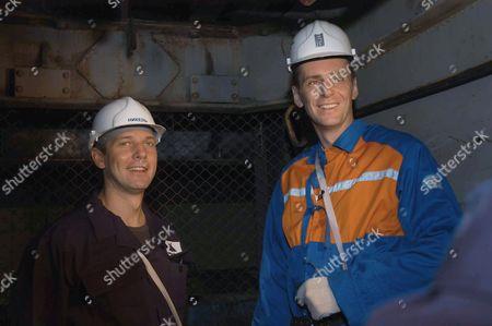 Norilsk, Russia, march 21, norilsk nickel ceo Mikhail prokhorov and companyi´s future ceo denis morozov, r-l, tour the oktyabrsky mine of the norilsk nickel.