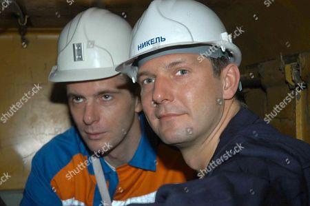 Norilsk, Russia, march 21, norilsk nickel ceo Mikhail prokhorov and companyi´s future ceo denis morozov, l-r, tour the oktyabrsky mine of the norilsk nickel.