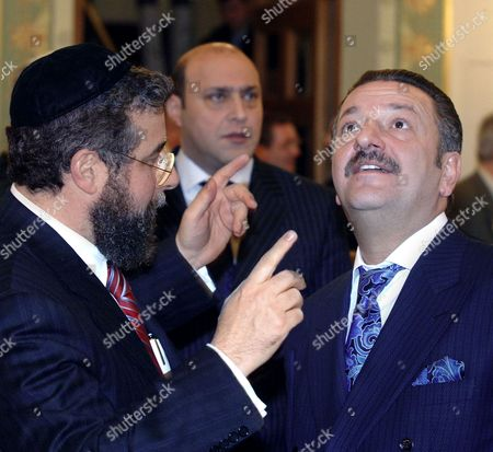 Moscow, Russia Moscow chief rabbi pinchas goldschmidt (l) and president of the ast group of companies telman ismailov are pictured during the reception that is held in the run-up to the 100th anniversary of the Moscow choral synagogue.