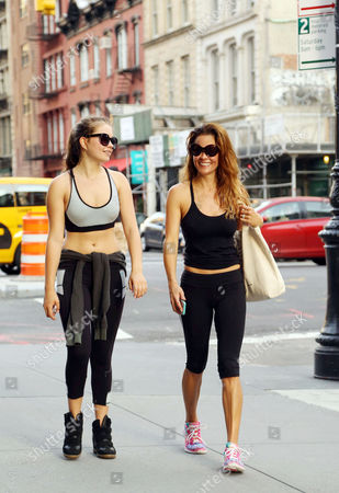 Brooke Burke Charvet and daughter Neriah Fisher leave a Soul Cycle class in downtown Manhattan