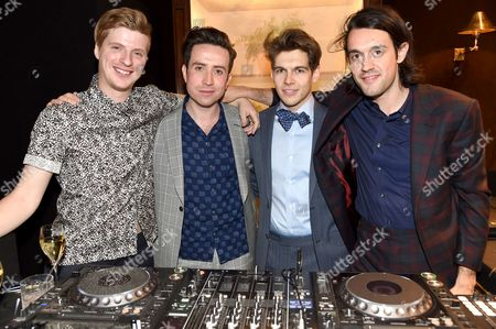 Stock Photo of Guest, Nick Grimshaw, James Righton (Dressed in Dunhill) and Simon Taylor-Davis (Dressed in Dunhill)