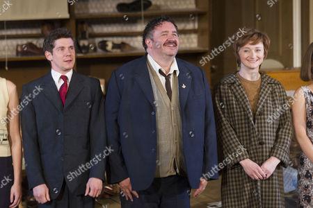 Karl Davies (Willy Mossop), Mark Benton (Henry Hobson) and Jodie McNee (Maggie Hobson)