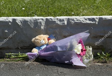 Stock Photo of A Bunch Of Flowers And A Teddy Left At The Scene In Chells Grove Billesley West Midlands Where A Young Mother Yvonne Walsh And Her 9 Month Old Son Harry Were Found Murdered. (3/06/13).