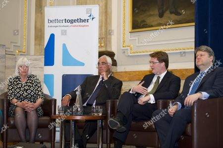 The Launch Event Of Better Together London The Cross Party Campaign For A Strong Scotland In The United Kingdom In Central London This Evening. Pictured L To R Mary Macleod Non-executive Director Of Great Ormond Street Hospital Alistair Darling MP Edinburgh South West And Chairman Of The Board Better Together Danny Alexander MP For Inverness And Chief Secretary To The Treasury And Lord Strathclyde Former Leader Of The House Of Lords.  05/06/2013.