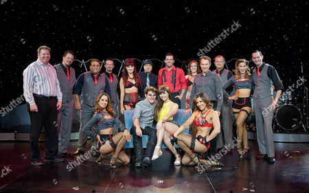 RJ Mitte with Claire Sinclair and the cast of Pinup