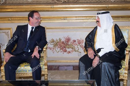Stock Photo of French President Francois Hollande (L) and Saudi Prince Mutaib bin Abdullah Al Saud