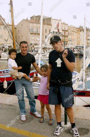 JEAN ALESI (L) AND SON WITH EROS RAMAZOTTI