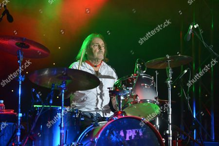 Stock Picture of The Giants of Rock Festival, Minehead, Somerset - John Coghlan's Quo - John Coghlan