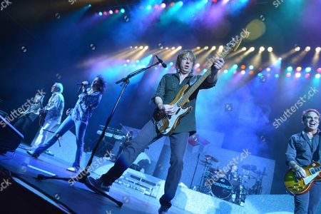 Foreigner in concert at the Hammersmith Apollo, London - Bruce Watson, Mick Jones, Kelly Hansen, Jeff Pilson, Chris Frazier and Thom Gimbel