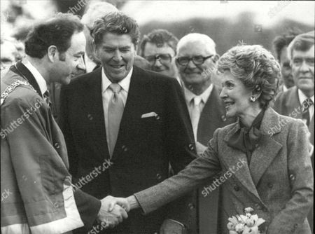 President Ronald Reagan Of America And First Lady Nancy Reagan Meet Dublin's Lord Mayor Michael Keating.