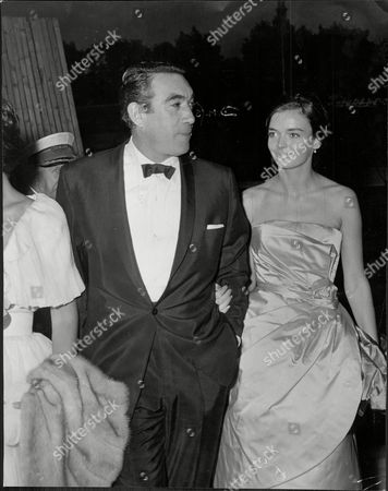 Anthony Quinn And Actress Barbara Steele At The Film Premier Of 'the Entertainer'.