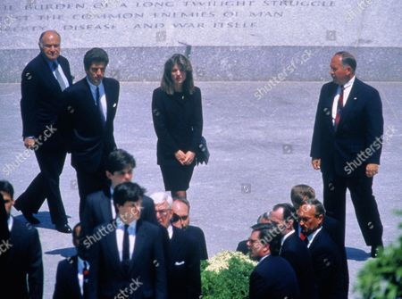 John F. Kennedy Jr and Caroline Kennedy Schlossberg attend the burial of Jacqueline Kennedy, Arlington, Virginia, America