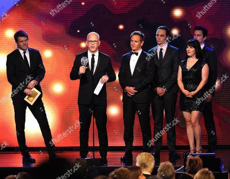 Ryan Murphy, producer Dante Di Loreto, actors Jim Parsons and Matt Bomer, and producer Gina Lamar