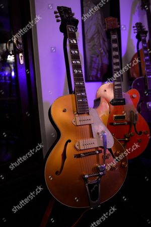 Reading United Kingdom - August 6: Detail Of A Gibson Memphis 1952 Es-295 Electric Guitar Belonging To English Musician Darrel Higham Guitarist With Irish Rock And Blues Performer Imelda May