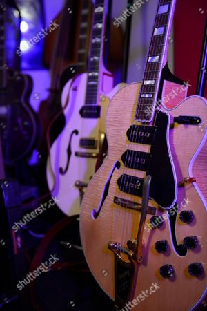 Reading United Kingdom - August 6: Detail Of A Gibson Es-5 Switchmaster Electric Guitar Belonging To English Musician Darrel Higham Guitarist With Irish Rock And Blues Performer Imelda May