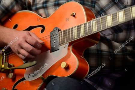 Reading United Kingdom - August 6: Detail Of A 1955 Gretsch 6120 Electric Guitar Belonging To English Rock Musician Darrel Higham Guitarist With Irish Rock And Blues Performer Imelda May