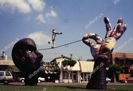 """Process to Change"" scuplture by artist Adam Leventhal. Santa Monica Blvd, West Hollywood. 1987"