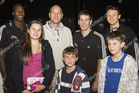 Nick George of Great Britain, Sir Steve Redgrave and family, Nate Reinking of Great Britain and Steven Leven of Great Britain