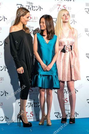 Stock Photo of Angelina Jolie, Aya Ueto and Elle Fanning