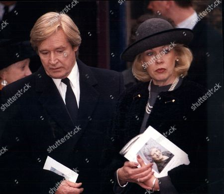 Editorial picture of William (bill) Roache Actor And His Wife Sara At The Funeral Of Coronation Street Actress Jill Summers Who Played Phyllis Pearce.