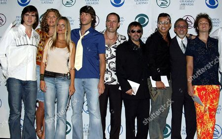 Celebrity announcers including, L-R Juanes, Daisy Fuentes, Nicole, Jorge Moreno, Gian Marco (white shirt), Alejandro Lerner, Charlie Zaa, Emilio Estefan (second from right) and Cabas.