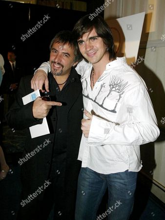 Stock Image of ALEJANDRO LERNER WITH THREE TIME LATIN GRAMMY WINNER JUANES.