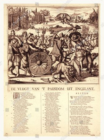 De Vlugt Van 't Pausdom Uit Engelant, Hooghe, Romeyn De, 1645-1708, Artist, [1689], 1 Print (broadside) : Etching With Letterpress., Print Shows Louis Xiv, With Peg Leg, Riding A Bear, Leading The Flight Of Catholicism From England; He Moves To Draw His Sword To Strike A Lion, As A Cock On His Head Is Attacked By An Eagle. Father Petre Follows Riding A Large Dog Harnessed To A Wagon Carrying The Royal Family, James Ii, The Queen, And James Francis, Their Infant Son, Known As The Pretender, Holding A Windmill. The Dog Defecates On The Crown. A Black Imp With Bellows Harasses Father Petre. Pantagion With Sword Drawn And Bomb Shooting Hat Brings Up The Rear Riding A Wolf. In The Middle Distance Is A Long Line Of Priests And Monks Fleeing London. In The Upper Right Corner, Pope Innocent Xi Wheels In A Bishop.