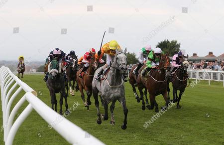NOBLE ALAN (Yellow Cap) ridden by Ian Brennan) wins at Carlisle
