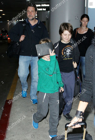 Editorial image of Russell Crowe and family at LAX Airport, Los Angeles, America - 26 Jun 2014
