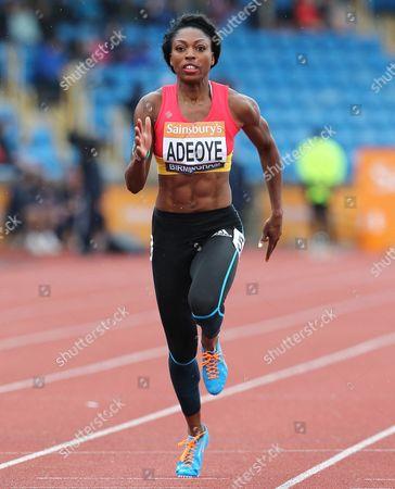Margaret Adeoye during the Women's 100 metres