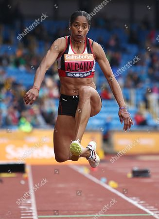 Stock Picture of Yamile Aldama on her way to winning the Women's triple jump final