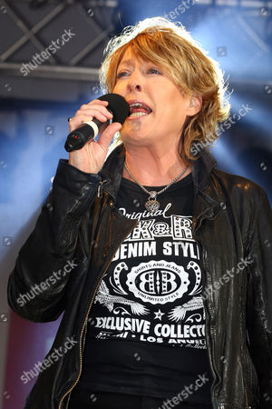 Katrina Leskanich of Katrina and the Waves performing on the main stage at Pride London