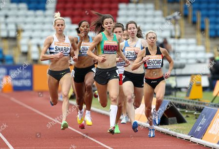 Jessica Judd, Lynsey Sharp and Jenny Meadows during the Women's 800 metres final