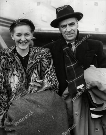Editorial picture of Norman Gregory Manager Of The Canadian Ice Hockey Team And Marlene Smith Arrive At Northolt Aerodrome From Paris.
