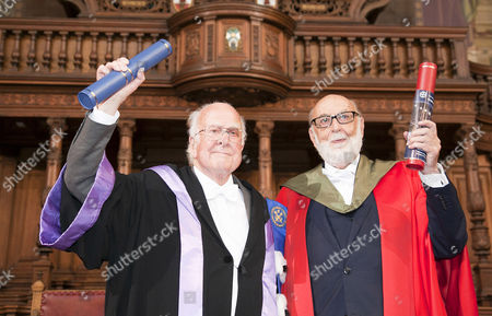 Stock Picture of Nobel winners Professors Peter Higgs (left) and Francois Englert received honorary degrees at the University of Edinburgh on Saturday, in a ceremony at which Prof Higgs will also be given the Freedom of the City of Edinburgh