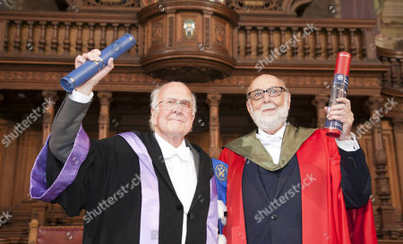 Stock Image of Nobel winners Professors Peter Higgs(left) and Francois Englert received honorary degrees at the University of Edinburgh on Saturday, in a ceremony at which Prof Higgs will also be given the Freedom of the City of Edinburgh