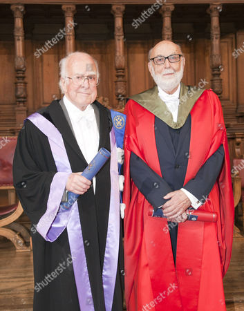 Stock Photo of Nobel winners Professors Peter Higgs (left) and Francois Englert received honorary degrees at the University of Edinburgh on Saturday, in a ceremony at which Prof Higgs will also be given the Freedom of the City of Edinburgh
