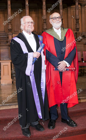 Nobel winners Professors Peter Higgs and Francois Englert received honorary degrees at the University of Edinburgh on Saturday, in a ceremony at which Prof Higgs will also be given the Freedom of the City of Edinburgh