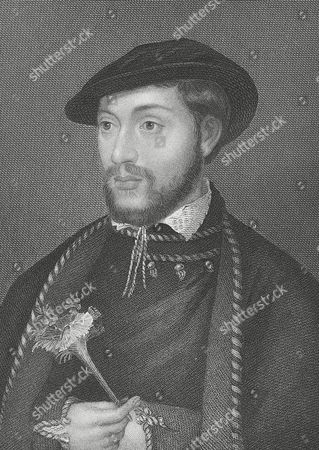 John Dudley, Duke of Northumberland (1520 - 1553) married his son to Lady Jane Grey and opposed the succession of Mary I. Engraving after the portrait by Holbein